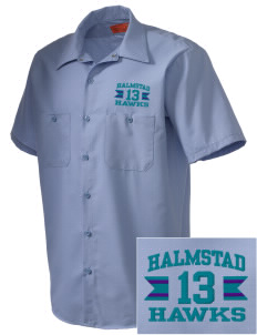 Halmstad Elementary School Hawks Embroidered Men's Cornerstone Industrial Short Sleeve Work Shirt