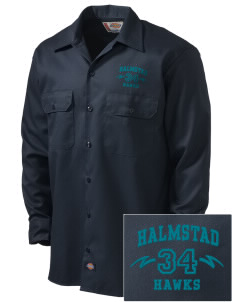 Halmstad Elementary School Hawks Embroidered Dickies Men's Long-Sleeve Workshirt