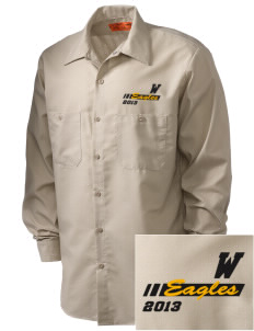Wharton Elementary School Eagles Embroidered Men's Industrial Work Shirt - Regular