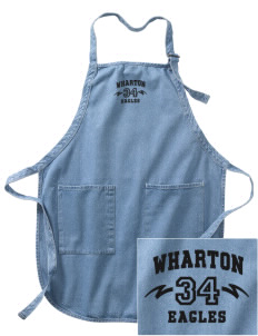 Wharton Elementary School Eagles Embroidered Full-Length Apron with Pockets