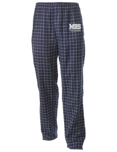 Mason High School Punchers Men's Button-Fly Collegiate Flannel Pant with Distressed Applique