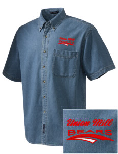 Union Mill Elementary School Bears  Embroidered Men's Denim Short Sleeve