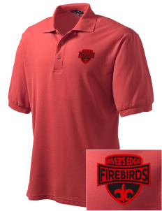 River's Edge High School Firebirds Embroidered Men's Silk Touch Polo