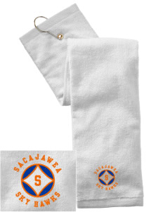 Sacajawea Elementary School Sky Hawks Embroidered Hand Towel with Grommet