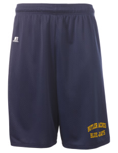 "Butler Acres Elementary School Blue Jays  Russell Deluxe Mesh Shorts, 10"" Inseam"