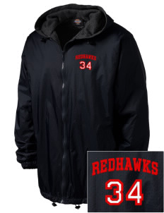 Port Townsend Senior High School Redskins Embroidered Dickies Men's Fleece-Lined Hooded Jacket