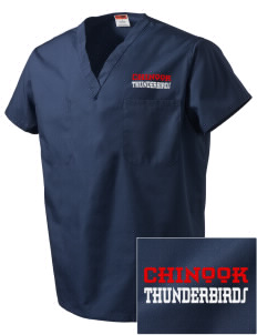 Chinook Middle School Thunderbirds Embroidered V-Neck Scrub Top
