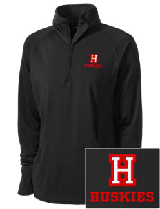 Hilltop Elementary School Huskies Embroidered Ladies Stretched Half-Zip Pullover