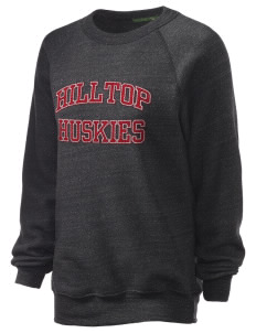 Hilltop Elementary School Huskies Unisex Alternative Eco-Fleece Raglan Sweatshirt with Distressed Applique