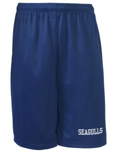 "Shorewood Elementary School Seagulls Long Mesh Shorts, 9"" Inseam"
