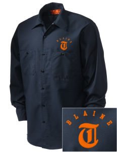 Catherine Blaine School Tigers Embroidered Men's Industrial Work Shirt - Regular