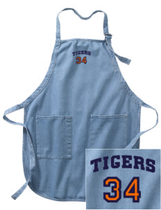 Catherine Blaine School Tigers Embroidered Full-Length Apron with Pockets
