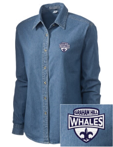 Graham Hill Elementary School Whales Embroidered Women's Denim Long Sleeve