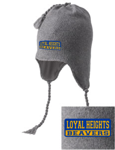 Loyal Heights Elementary School Beavers Embroidered Knit Hat with Earflaps