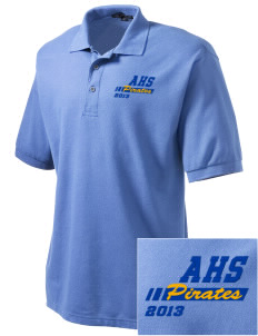Adna Senior High School Pirates Embroidered Men's Silk Touch Polo