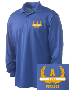 Adna Senior High School Pirates Embroidered Men's Long Sleeve Micropique Sport-Wick Sport Shirt
