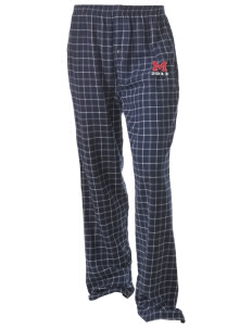 Madison Elementary School Wildcats Unisex Button-Fly Collegiate Flannel Pant with Distressed Applique