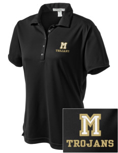 Meridian High School Trojans  Embroidered Women's Bamboo Charcoal Birdseye Jacquard Polo