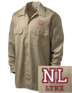 North Linn Elementary School Lynx Embroidered Dickies Men's Long-Sleeve Workshirt