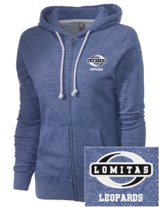 Lomitas Elementary School Leopards Embroidered Women's Marled Full-Zip Hooded Sweatshirt
