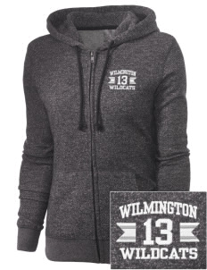 Wilmington High School Wildcats Embroidered Women's Marled Full-Zip Hooded Sweatshirt