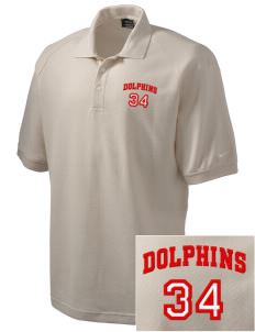 Dunlap Elementary School Dolphins Embroidered Nike Men's Pique Knit Golf Polo