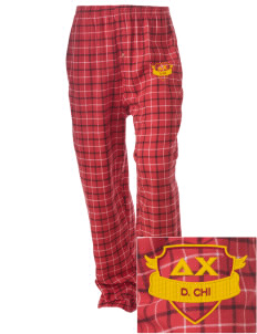 Delta Chi Embroidered Unisex Button-Fly Collegiate Flannel Pant