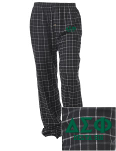Delta Sigma Phi Embroidered Unisex Button-Fly Collegiate Flannel Pant