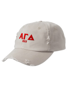 Alpha Gamma Delta Embroidered Distressed Cap