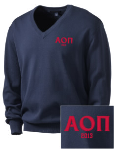 Alpha Omicron Pi Embroidered Men's V-Neck Sweater