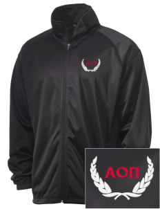 Alpha Omicron Pi Embroidered Men's Tricot Track Jacket