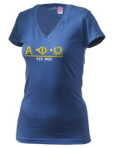 Alpha Phi Omega Juniors' Fine Jersey V-Neck Longer Length T-shirt