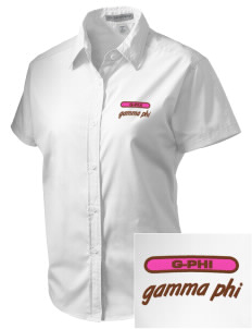 Gamma Phi Beta Embroidered Women's Short Sleeve Easy Care, Soil Resistant Shirt