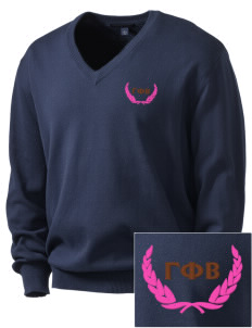 Gamma Phi Beta Embroidered Men's V-Neck Sweater