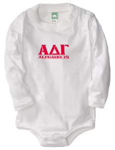 Alpha Delta Gamma  Baby Long Sleeve 1-Piece with Shoulder Snaps