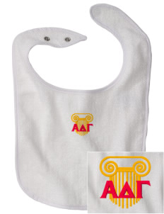 Alpha Delta Gamma Embroidered Baby Snap Terry Bib