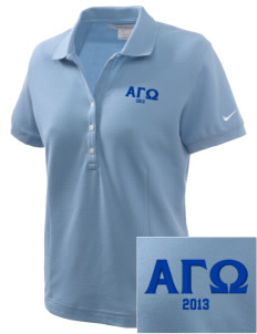 Alpha Gamma Omega Embroidered Nike Women's Pique Golf Polo