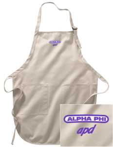 Alpha Phi Delta Embroidered Full-Length Apron with Pockets