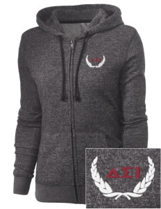 Delta Sigma Iota Embroidered Women's Marled Full-Zip Hooded Sweatshirt