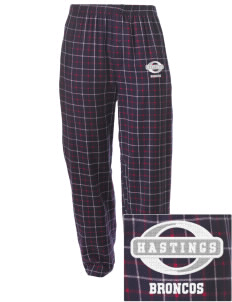 Hastings College Broncos Embroidered Men's Button-Fly Collegiate Flannel Pant
