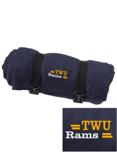Texas Wesleyan University Rams Embroidered Fleece Blanket with Strap