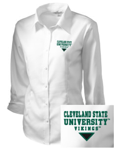 Cleveland State University Vikings Embroidered Women's 3/4 Sleeve Non-Iron