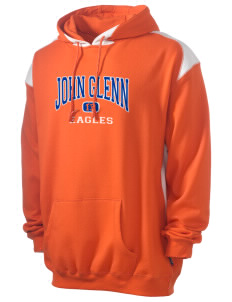 John Glenn High School Eagles Men's Pullover Hooded Sweatshirt with Contrast Color