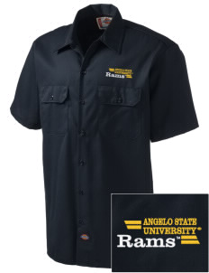 Angelo State University Rams Embroidered Dickies Men's Short-Sleeve Workshirt