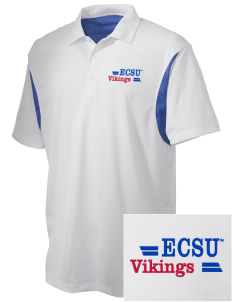 Elizabeth City State University Vikings Embroidered Men's Back Blocked Micro Pique Polo
