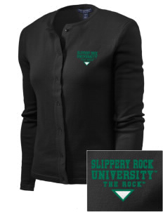 Slippery Rock University The Rock Embroidered Women's Cardigan Sweater