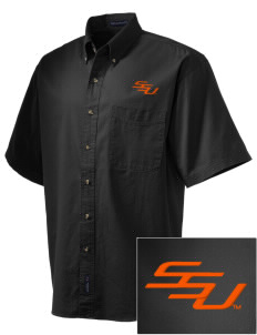 Savannah State University Tigers Embroidered Men's Short Sleeve Twill Shirt