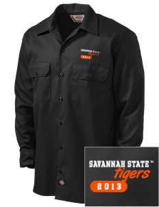 Savannah State University Tigers Embroidered Dickies Men's Long-Sleeve Workshirt
