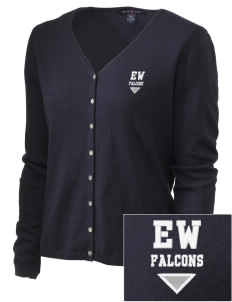 Explorer West Middle School Falcons Embroidered Women's Stretch Cardigan Sweater