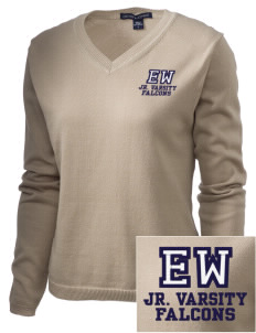 Explorer West Middle School Falcons Embroidered Women's V-Neck Sweater